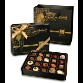 L'C Exclusive Black fémdobozos kézműves praliné válogatás táskával Belga Csokoládéból 250g