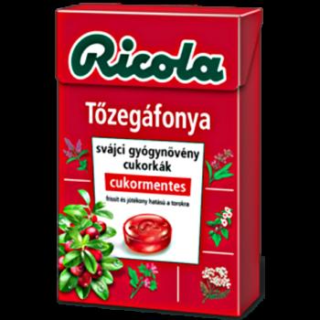 Ricola Tőzegáfonya Gyógynövényes Cukormentes Cukorka 40g
