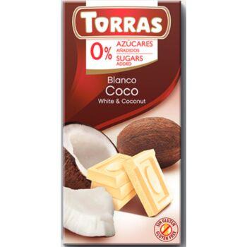 Torras Kókuszos  Gluténmentes Fehércsokoládé Édesítőszerrel 75g