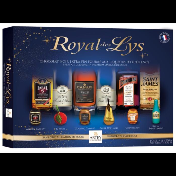Abtey Royal des Lys Likőrrel Töltött Étcsokoládé Palackok 250g
