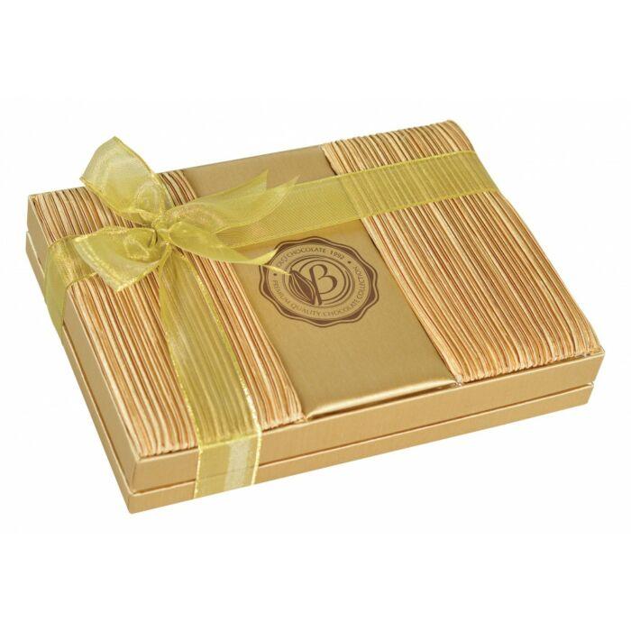 Exclusive Szatén Borítású  Díszdobozos Kézműves Praliné Válogatás Táskával ( Arany ) 500g
