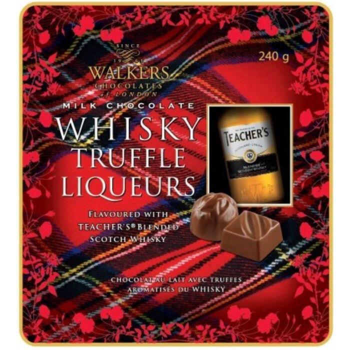 Walkers Angol Fémdobozos, Whisky Trüffelkrémmel Töltött Tejcsokoládé Praliné 240g