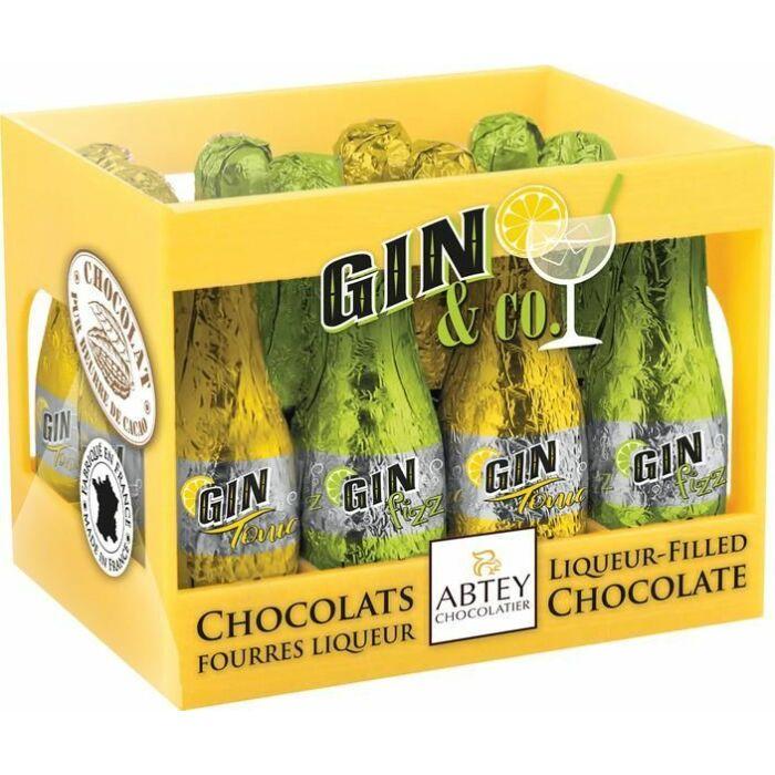 Abtey Gin Töltésű Étcsokoládé Palackok Rekeszben Sárga 108g