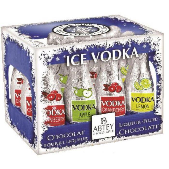 Abtey Gyümölcsös Vodka Likőrrel Töltött Étcsokoládé Palackok Rekeszben Kék 108g