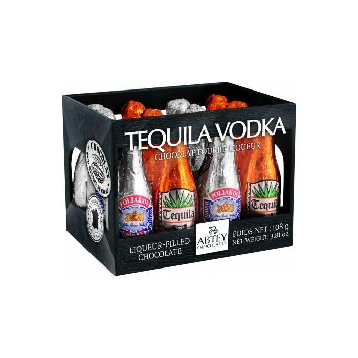 Abtey Tequila/Vodka Töltésű Étcsokoládé Palackok Rekeszben Fekete 108g
