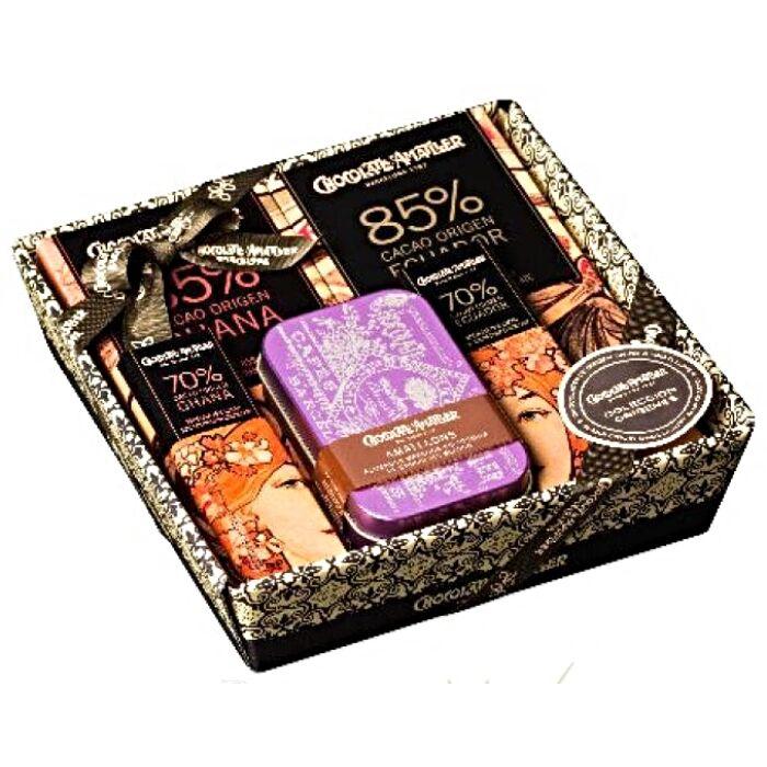 Amatller Spanyol Prémium Csokoládékból Készült Ajándékkosár Fekete 211g