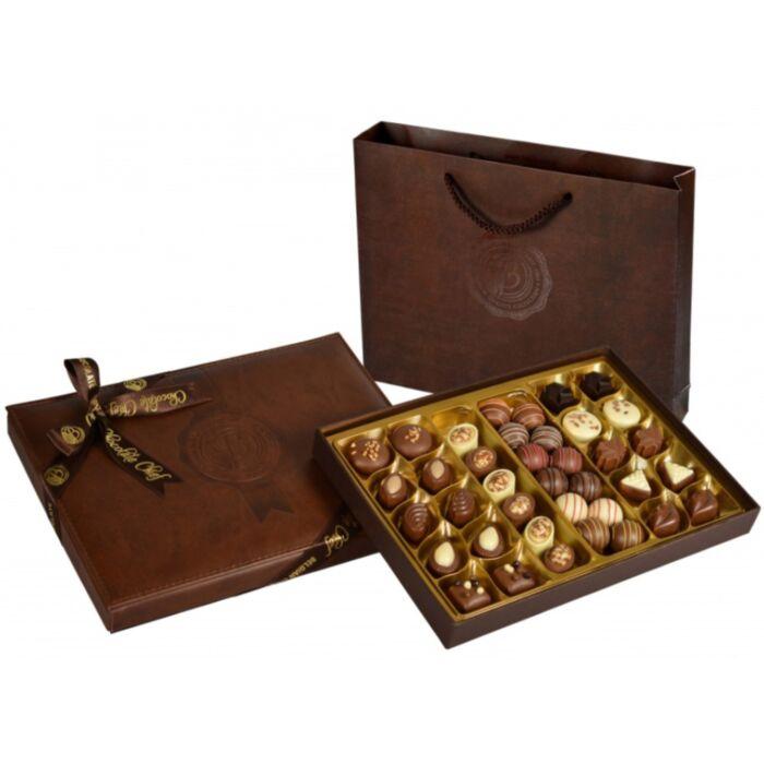 Exclusive Bőr Díszdobozos Kézműves Praliné Válogatás Táskával Belga Csokoládéból 500g
