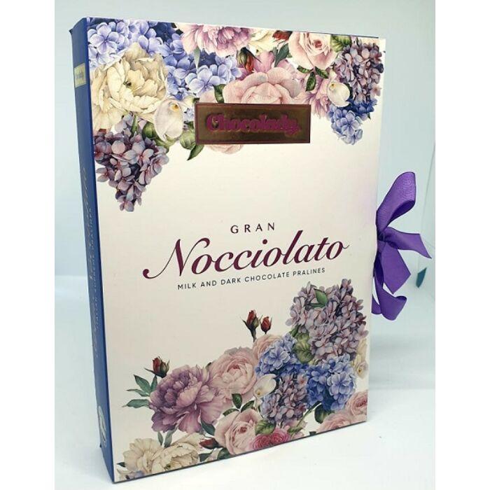 Chocolady Könyv Olasz Tej- és Étcsokoládé Praliné Mogyorókrémmel és Mogyoró Darabokkal Töltve 150g