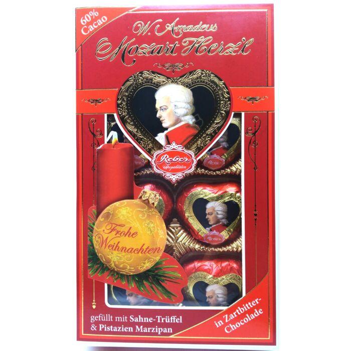 Reber Mozart Herz'l Praliné Étcsokoládéban Pisztácia-marcipánnal és Trüffel töltelékkel 80 g