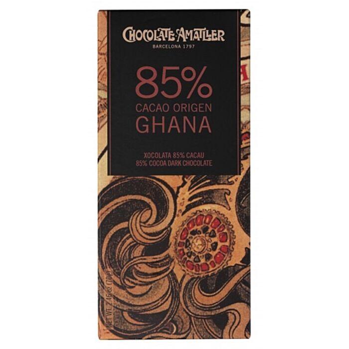 Amatller Gluténmentes 85%-os Étcsokoládé Ghánaii Kakaóbabból 70g