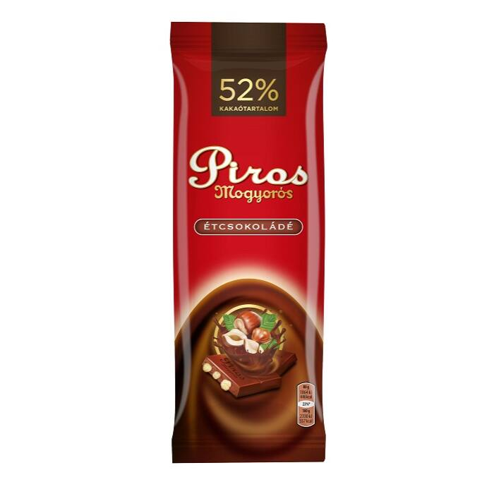Piros Mogyorós Étcsokoládé Egészmogyoróval 80g