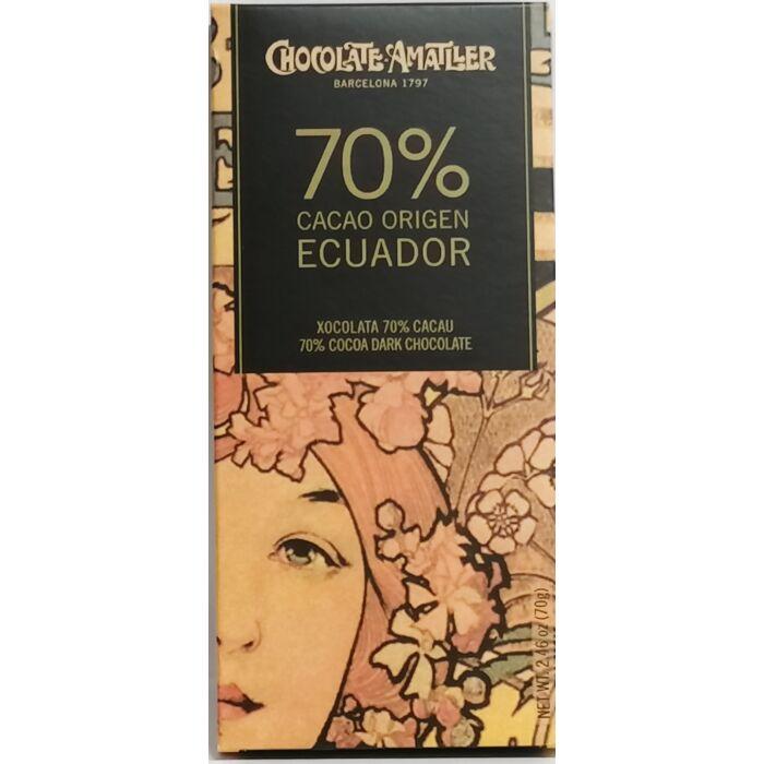 Amatller Gluténmentes 70%-os Étcsokoládé Ecuadori Kakaóbabból 70g