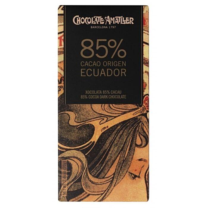 Amatller Gluténmentes 85%-os Étcsokoládé Ecuadori Kakaóbabból 70g
