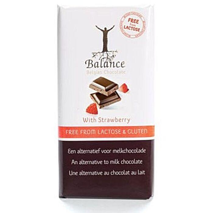 Balance Belga Rizstejes Laktóz-és Gluténmentes Tejcsokoládé Jellegű Csokoládé Eperrel 85g