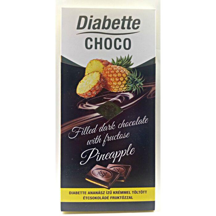Diabette Choco Ananász Ízű Krémmel Töltött Étcsokoládé Fruktózzal 80g