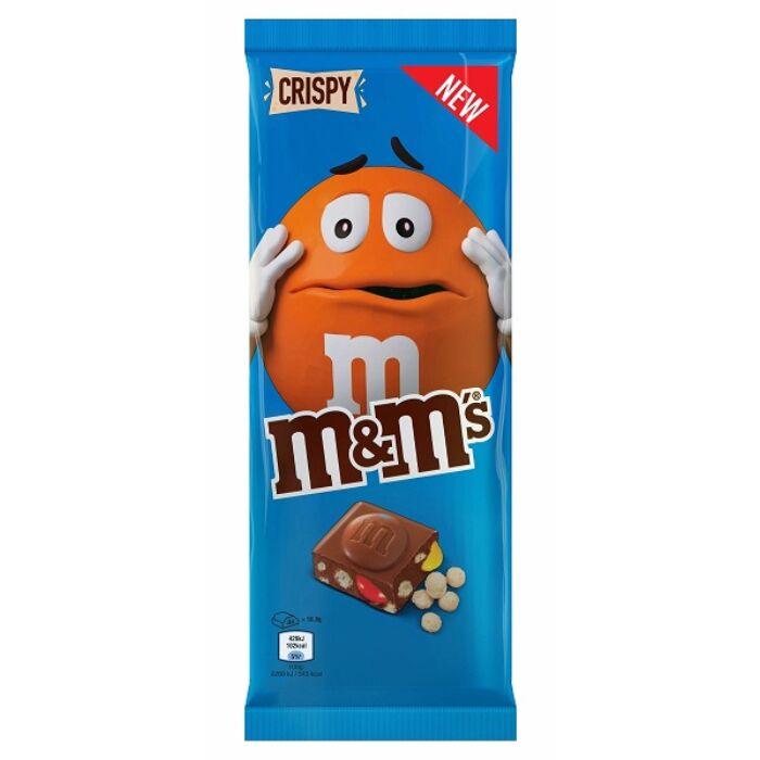M&M's Cripsy Tejcsokoládé m&m's drazsékkal és ropogós puffasztott rizsgolyókkal 150g