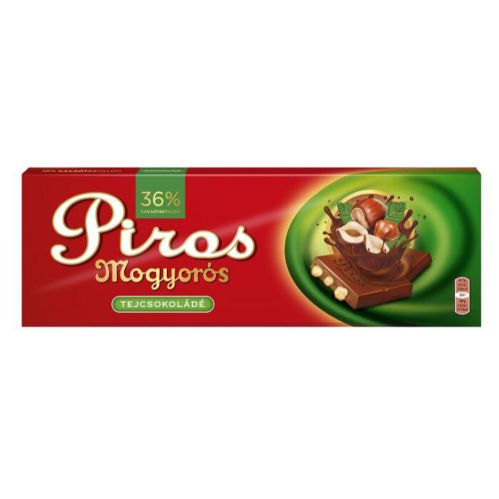 Piros Mogyorós Tejcsokoládé egész mogyoróval 250g