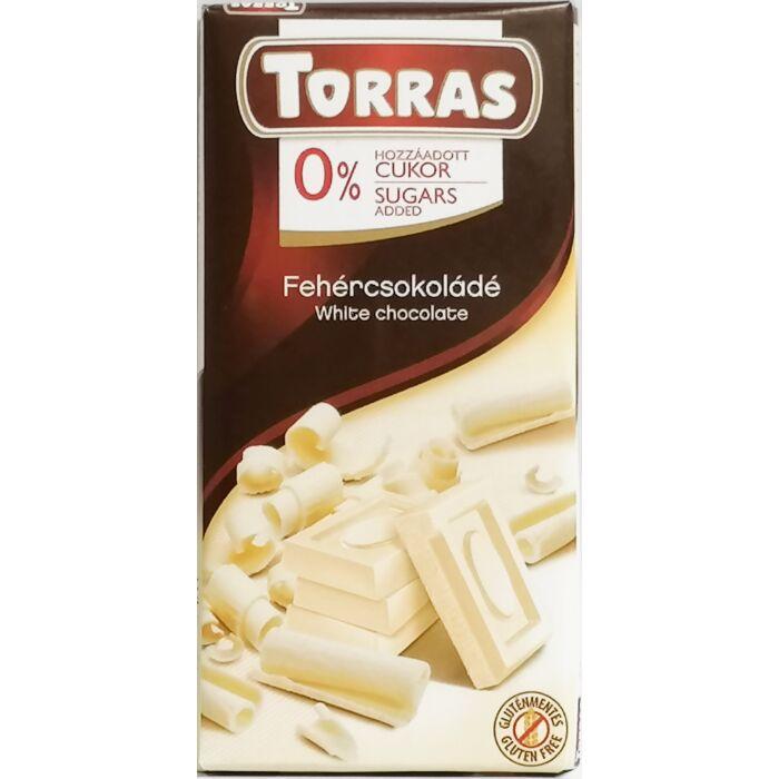 Torras  Gluténmentes Fehércsokoládé Édesítőszerrel 75g