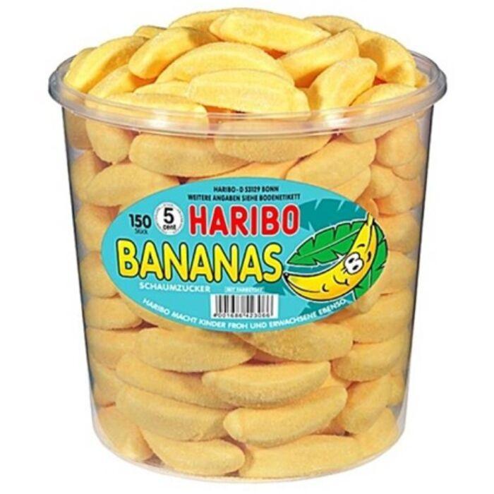 Haribo Tégelyes Bananas Gyümölcsízű Habcukor 1050g( 150Db)