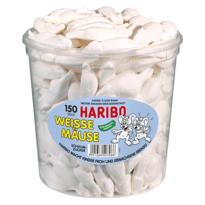 Haribo Tégelyes Fehér Egerek Habcukor 1050g( 150Db)