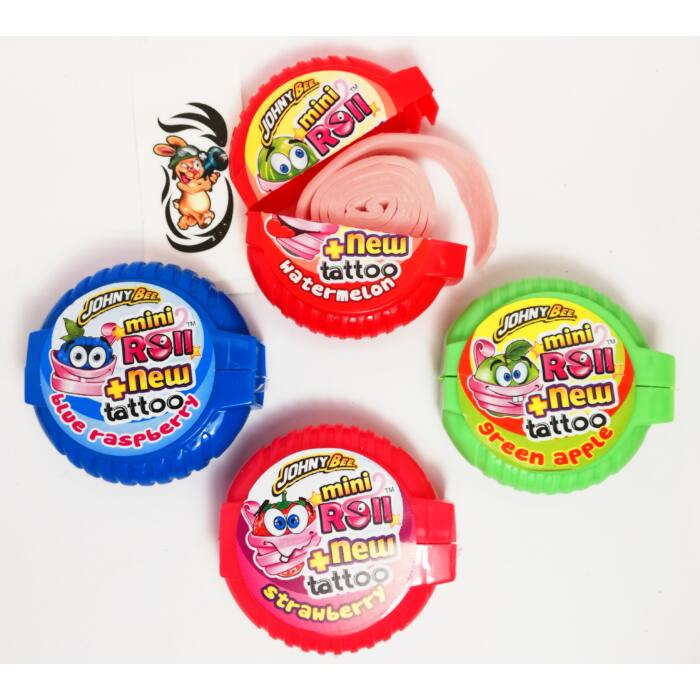 Johny Bee Mini Roll méteres  rágógumi tetoválással(eper,áfonya,görögdinnye és eper ízekben) 18 g