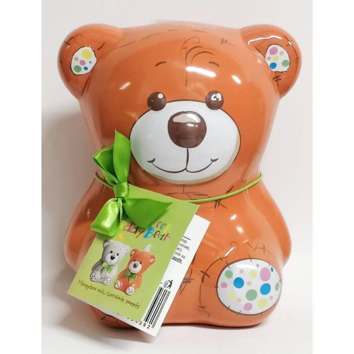 Magnat My Sweet Teddy Bear Fém Persely Narancs-zselés Étcsokoládé Desszerttel (Narancssárga) 140g