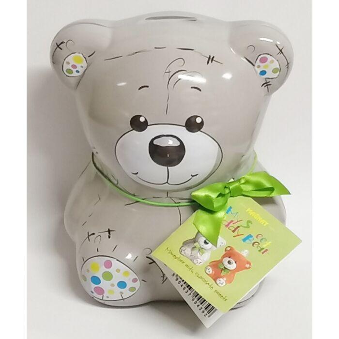 Magnat My Sweet Teddy Bear Fém Persely Narancs-zselés Étcsokoládé Desszerttel (Szürke) 140g