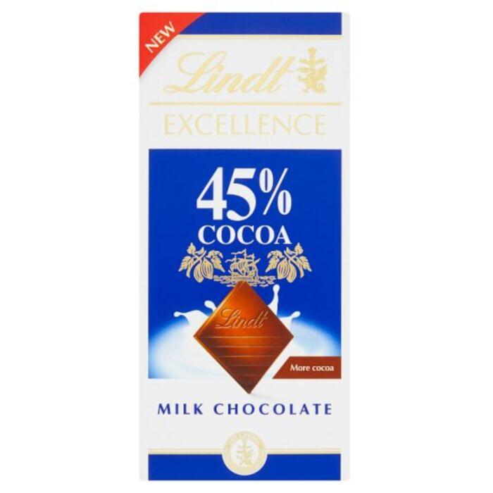 Lindt Excellence Magas Kakaótartalmú Tejcsokoládé 45% 80g