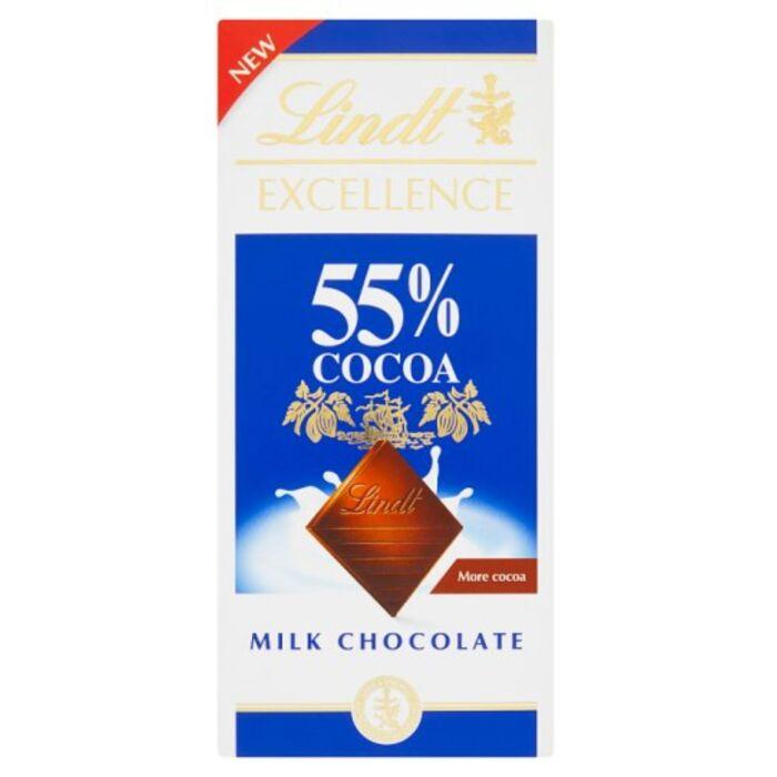 Lindt Excellence Magas Kakaótartalmú Tejcsokoládé 55% 80g