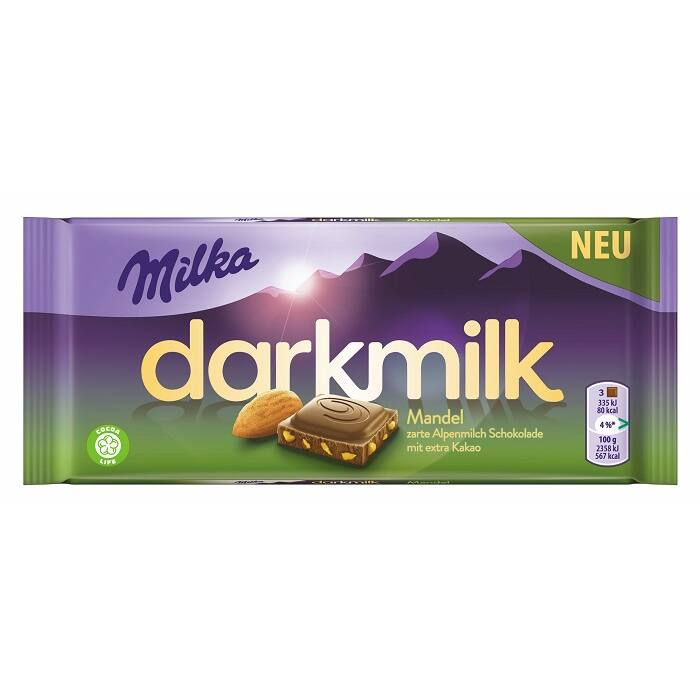 Milka Darkmilk magas kakaótartalmú alpesi tejcsokoládé manduladarabokkal 85 g
