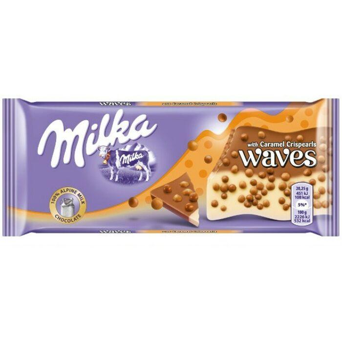 Milka Waves Alpesi Tejcsokoládé és Fehércsokoládé Gabonagolyókkal 81g