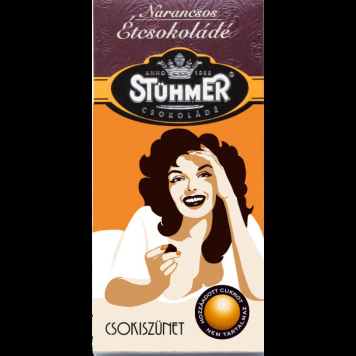 Stühmer Narancsos Étcsokoládé Édesítőszerrel 100g