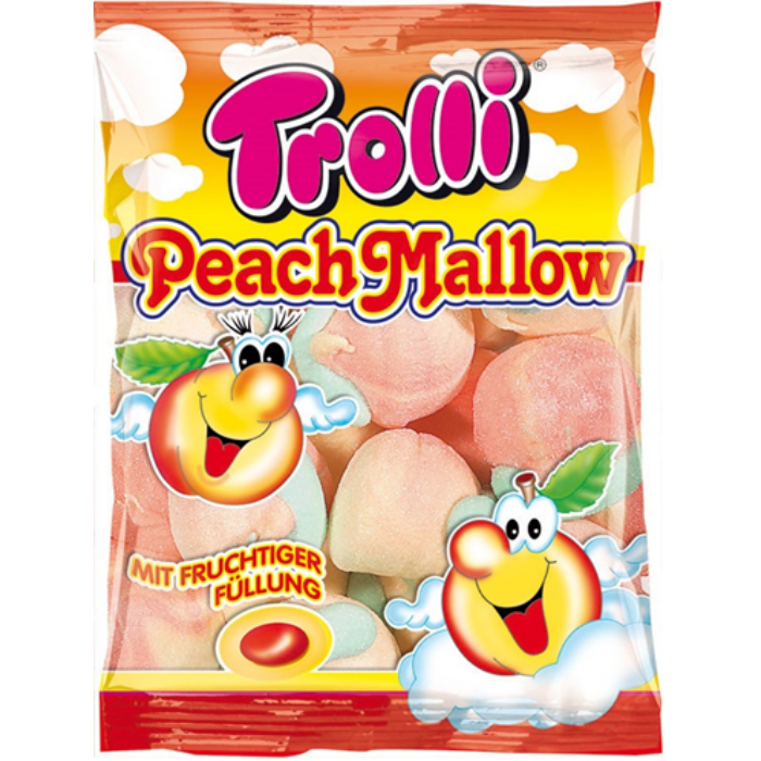 Trolli gyümölcsízzel töltött barackhab 150g