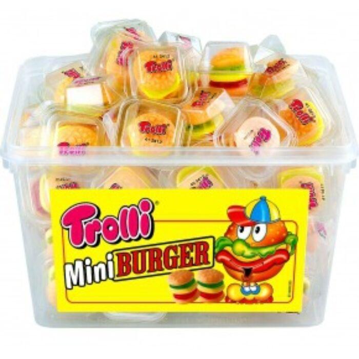 Trolli Gumicukor tégelyes Mini Burger 60db