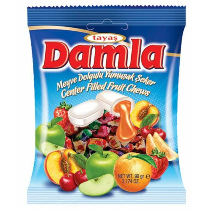 Damla vegyes, gyümölcs izű töltelékkel töltött puha karamella 90g