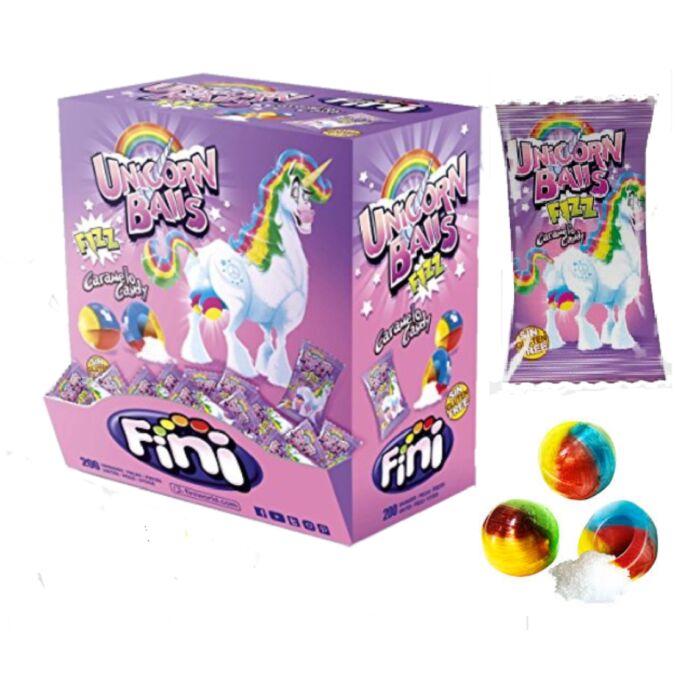 Fini Unicorn Balls Vegyes Gyümölcs Ízű Keménycukor Savanyú Porral Töltve 1000g (200db*5g)