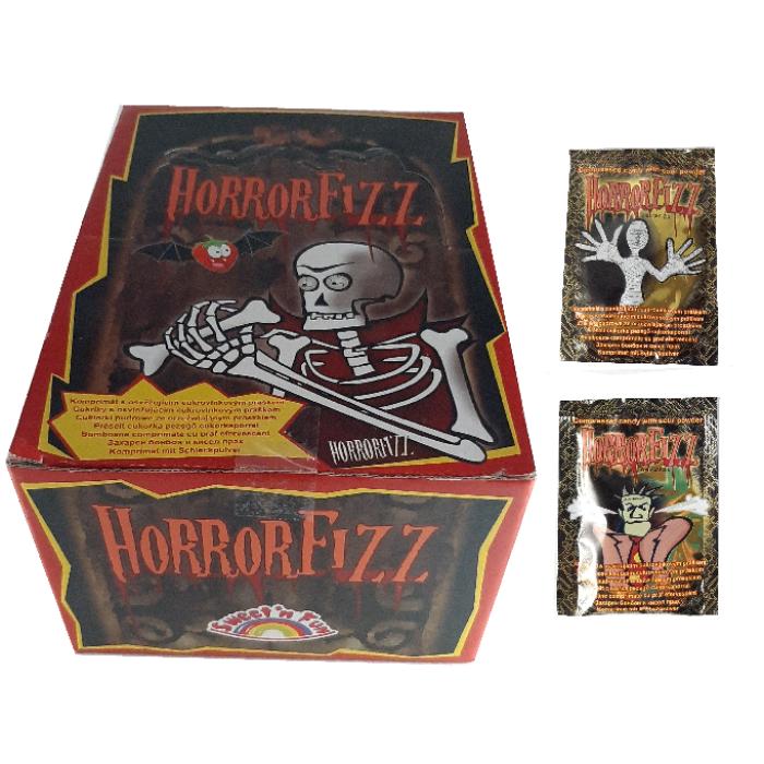 Horror Fizz Vegyes Gyümölcsízű Préselt Cukorka Cukorkaporral 1200g (100db*12g)