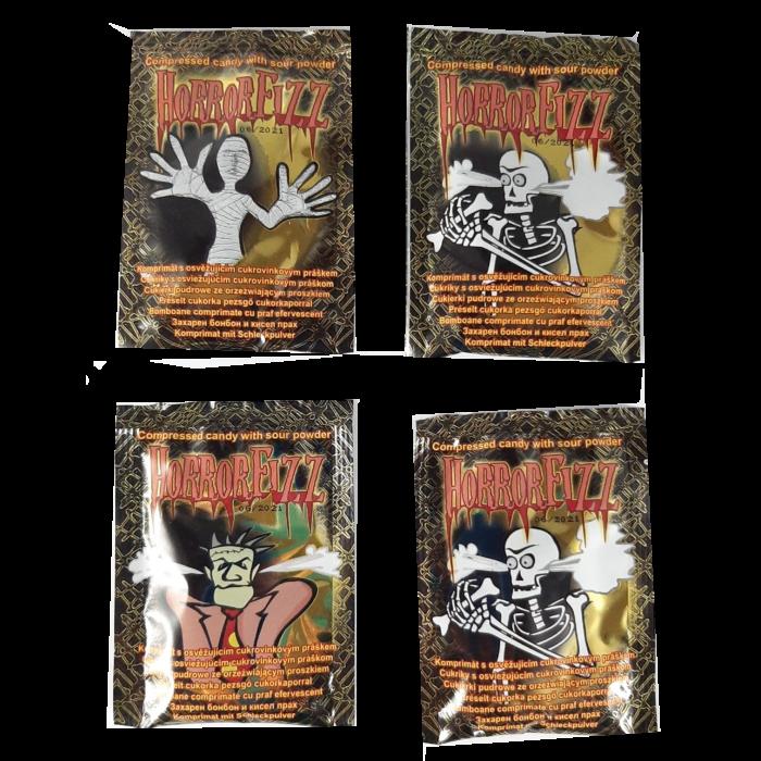 Horror Fizz Vegyes Gyümölcsízű Préselt Cukorka Cukorkaporral 12g(1db)