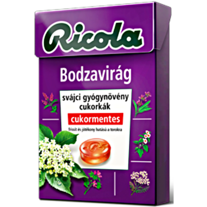 Ricola Bodzavirág Gyógynövényes Cukormentes Cukorka 40g