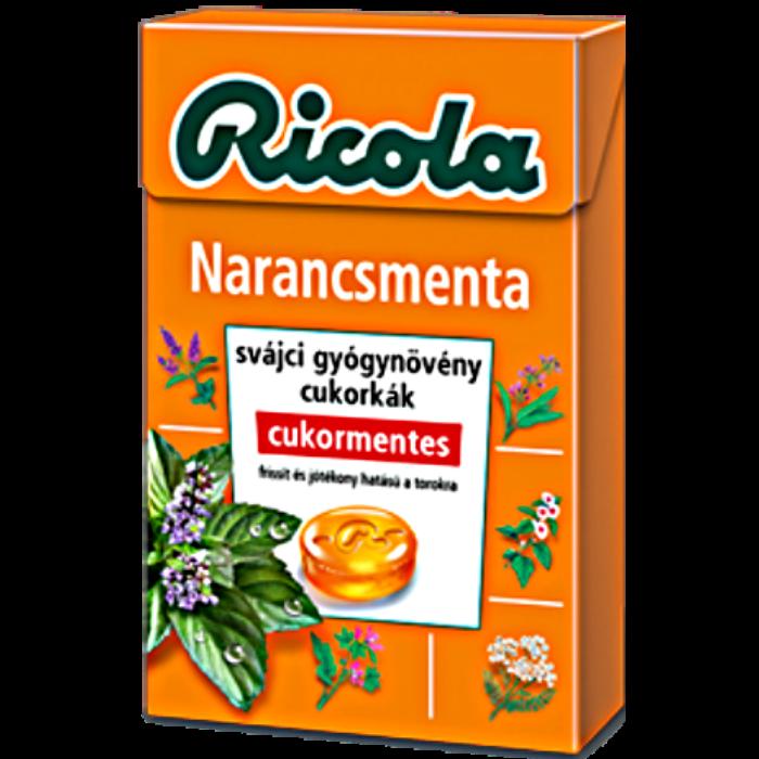 Ricola Narancsmenta Gyógynövényes Cukormentes Cukorka 40g