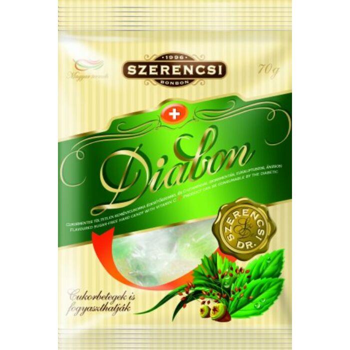 Szerencsi Diabon cukormentes borsmentás, eukaliptuszos és ánizsos töltetlen keménycukorka 70 g