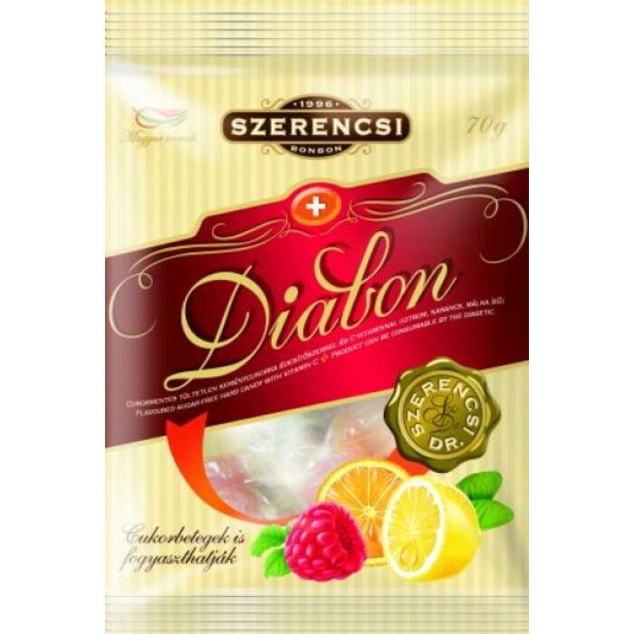 Szerencsi Diabon cukormentes citrom-, narancs- és málnaízű töltetlen keménycukorka 70 g