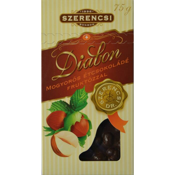 Szerencsi Diabon mogyorós étcsokoládé fruktózzal 75g