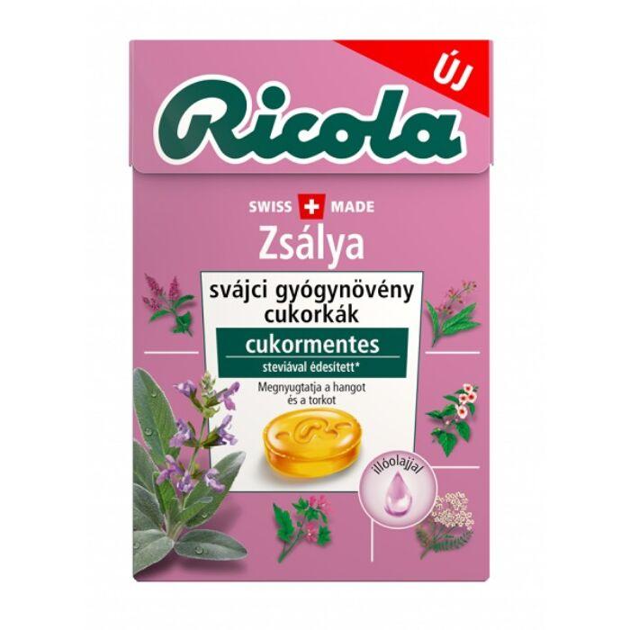 Ricola Zsálya Gyógynövényes Cukormentes Cukorka C-vitaminnal 40g