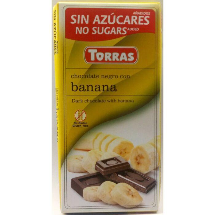 Torras Banános Gluténmentes Étcsokoládé Édesítőszerrel 75g