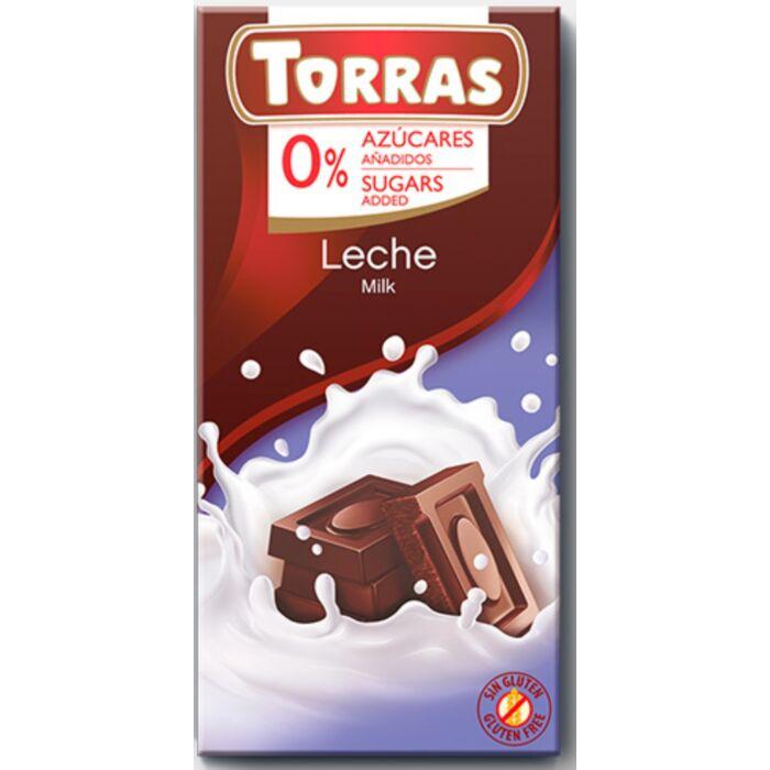 Torras  Gluténmentes Tejcsokoládé Édesítőszerrel 75g