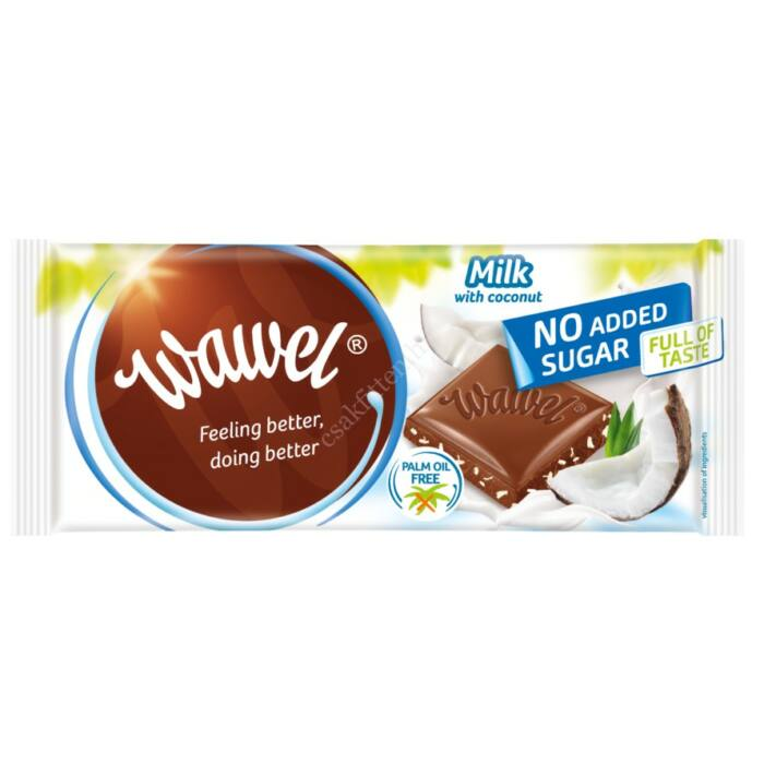 Wawel Diabetikus Kókuszos Tejcsokoládé Édesítőszerrel 100g