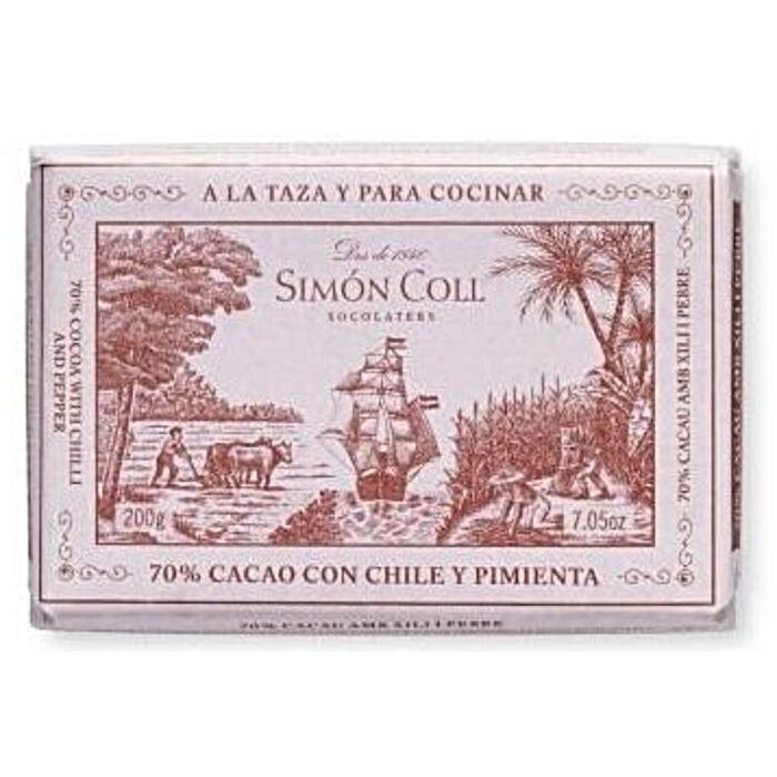 Simon Coll Gluténmentes Chilis Étcsokoládé Tömb 70% 200g