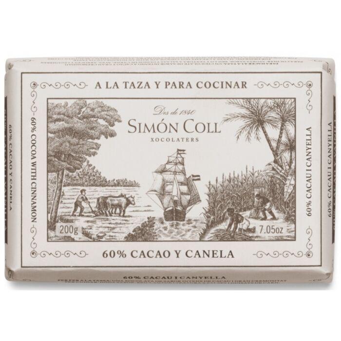 Simon Coll Gluténmentes Fahéjas Étcsokoládé Tömb 60% 200g