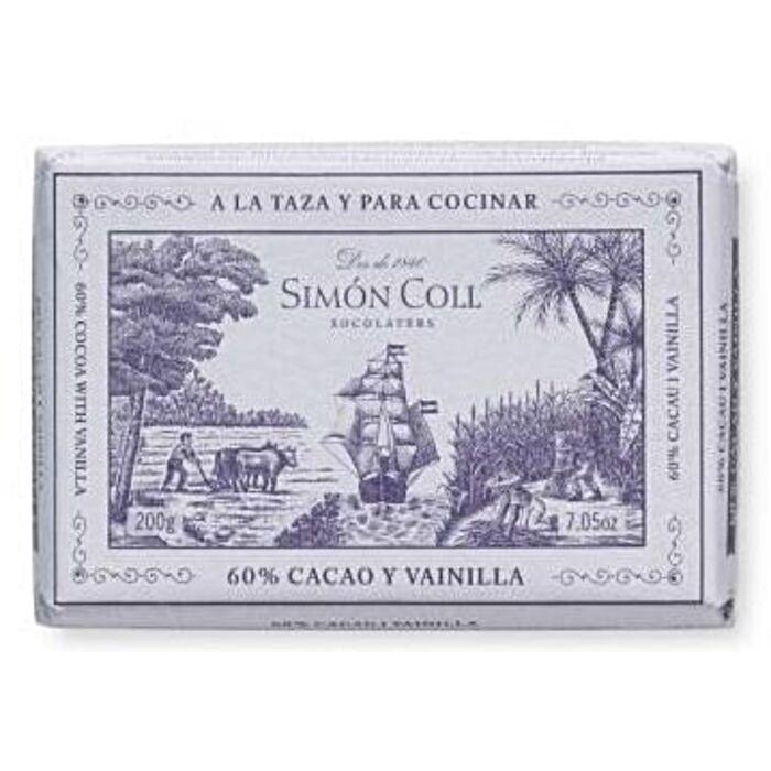 Simon Coll Gluténmentes Vaníliás Étcsokoládé Tömb 60% 200g